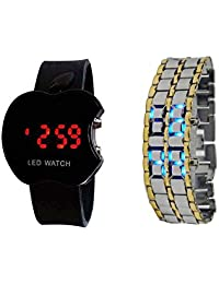 COSMIC LED SILVER & GOLDEN THEME BRACELET WATCH WITH FREE APPLE LED WATCH