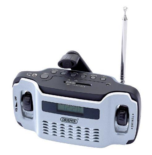 Draper Kurbelradio mit 3 LED-Taschenlampe, Silber