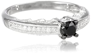 Sterling Silver Black and White Diamond Fashion Ring (0.5 cttw, H-I Color, I1-I2 Clarity) from Delmar Mfg LLC