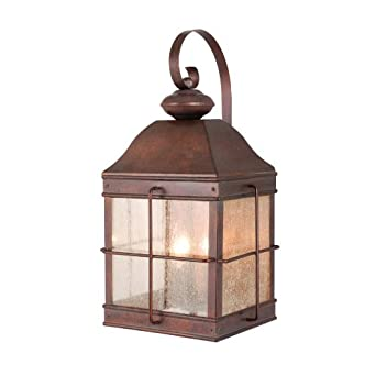 Vaxcel USA OW39593RBZ Revere 3 Light Colonial Outdoor Wall Lamp Lighting Fixture in Bronze ...