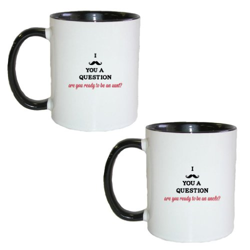 Mashed Mugs - I (Mustache) You A Question - Are You Ready To Be An Aunt?/Uncle? - 2-Pack Coffee Cup/Tea Mug (White/Black & White/Black)