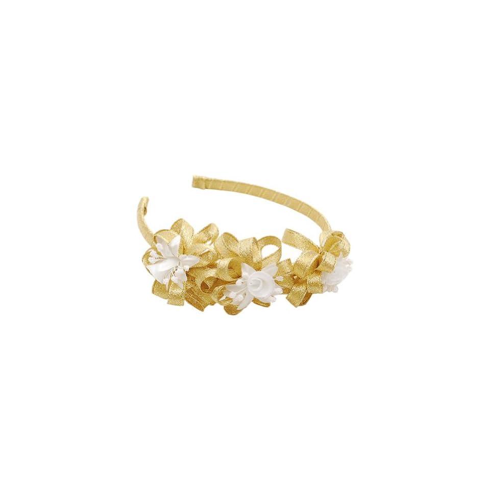 Lito Little Girls Gold Sparkle Tulle Flower Hair Accessory Headband