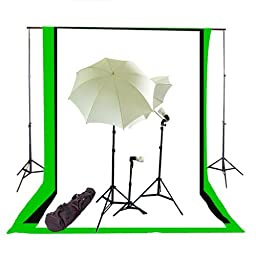 CowboyStudio Photography/Video Triple Lighting Light Kit with Black, White, and Green 10\' x 20\' Muslin Backdrops and Heavy Duty Background Support Kit