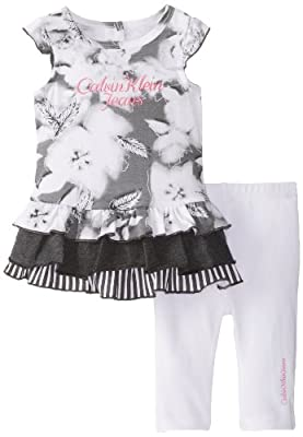 Calvin Klein Baby Girls' Printed Tunic with Pants, Gray, 24 Months