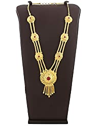 Anuradha Art Styled With Golden Finish Adorable Necklace Pink Colour Necklace For Ganpati Murti