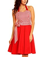 Polka Twist Womens 1950s Vintage Rockabilly Dress with Halterneck