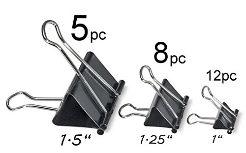 ALAZCO Value Set of 20 Assorted Binder Clips Black - 5 Large, 8 Medium & 12 Small - Excellent Quality (Mixed Binder Clips compare prices)