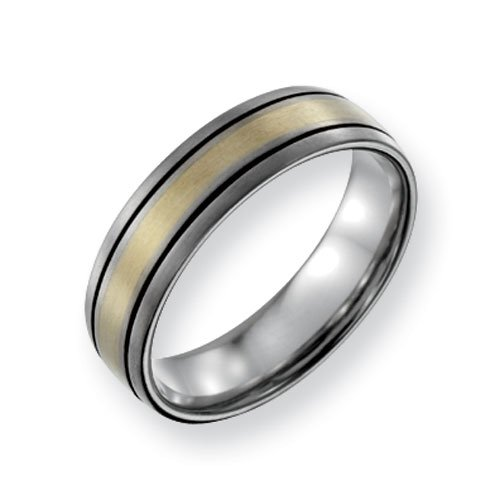 Titanium 14k Gold Inlay 6mm Brushed and Antiqued Comfort Fit Wedding Band Ring (SIZE 10.5 )