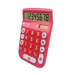 Office+Style 8 Digit Dual Powered Desktop Calculator, LCD Display, Pink