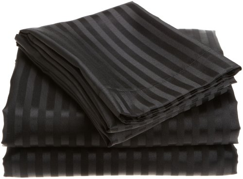 Divatex Home Fashions  Royal Opulence Woven Satin Stripe Queen Sheet Set, Black