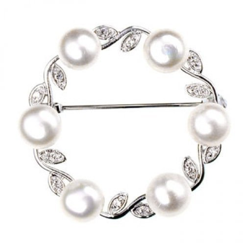 Bling Jewelry Freshwater Pearl Leaf Circle Bridal