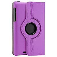 Gearonic 360 Degree Rotating PU Leather Case Cover Swivel Stand For Google Nexus 7 Asus Tablet Purple (5099UPUIB...
