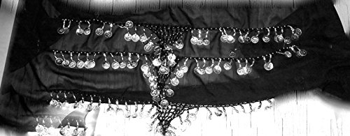 Plus Size Belly Dancing Hip Scarf - Black/Gold