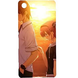 Casotec Girl Boy Sunset Sea Design Design Hard Back Case Cover for Sony Xperia M5 Dual