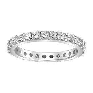 Platinum Bead-Set Diamond Eternity Ring (1.00 cttw, G-H Color, VS1-VS2 Clarity), Size 5.5
