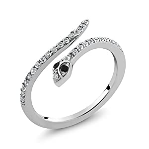 Gorgeous Cobra Snake Wrap Ring With Black Diamonds and White Sapphire