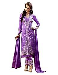 Varanga Purple Exclusive Pure Cotton Embroidered Dress Material with Matching Dupatta KF4PH1004