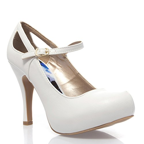 V-Luxury Womens 10-Trench134 Closed Toe Mary Jane High Heel Pump Shoes, White Pu Leather, 10 B (M) Us