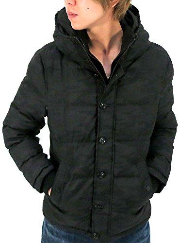 (マルカワジーンズパワージーンズバリュー) Marukawa JEANS POWER JEANS VALUE アウター メンズ 冬 スリム 防寒 中綿 ダウン ジャケット コート ファー フード ジップアップ カジュアル ストリート ブルゾン アウター 防風 保暖 メンズ 2color M ブラック
