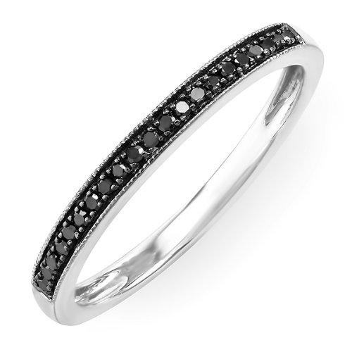 0.20 Carat (ctw) 10k White Gold Round Black Real Diamond Wedding Anniversary Milgrain Stackable Band Ring 1/5 CT
