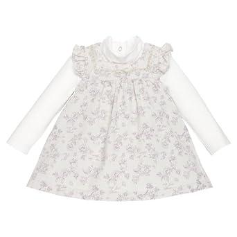 Chicco - ensemble 2 pièces body de robe chasuble - bébé fille - beige - 3 mois