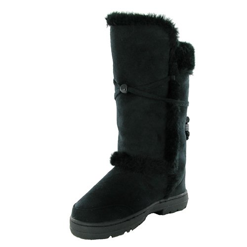 G52 New Ladies Black Faux Fur Winter Snow Boots
