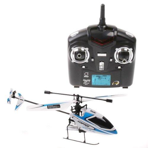 Imagen de 4 canales 2.4GHz Mini Radio Single Hélice Helicóptero Gyro V911 RTF Blanco y Azul