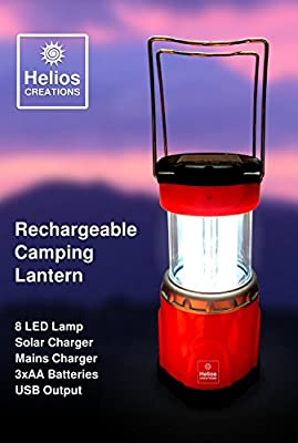 Helios Solar Powered Camping Lantern - Rechargeable with LED Lights