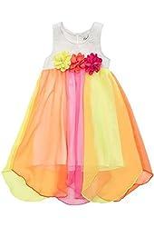 Rare Editions Big Girls' Colorblock Hi Lo Lace White Bodice Dress