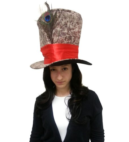 Novelty Top Hat - Mad Hatter Hat Brown With Wide Red Ribbon and Peacock Feather