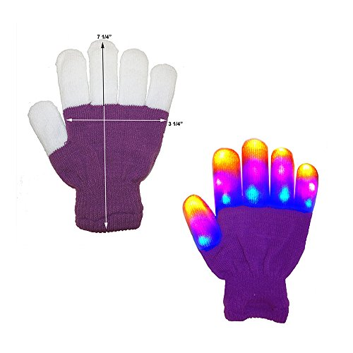 The Noodley's Flashing LED Light Gloves - Kids Size Purple Glove - Extra Batteries (Child, Purple / White) (Or Gloves Kids compare prices)