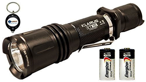 Bundle: Klarus Xt10 Cree Xm-L2 U2 Led 820 Lumens, Black Tactical Flashlight W/ Two Energizer Cr123A Batteries And Lightjunction Keychain Light