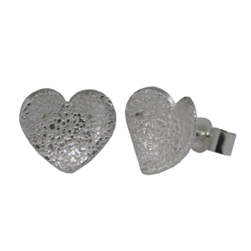 Handcrafted 925 Sterling Silver Hearts Earrings - Patterned Studs. FREE Delivery in UK Gift Wrapped