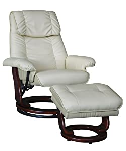Acme 19798 2-Piece Lauralyn Chair and Ottoman, Ivory
