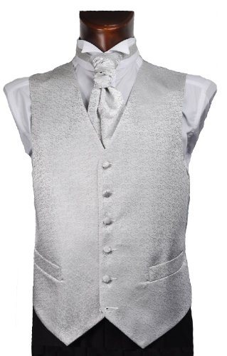 Mens Silver Scroll Wedding Waistcoat