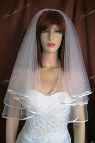 2 Tier White Elbow Length Satin Trim Simple Wedding Bridal Veil