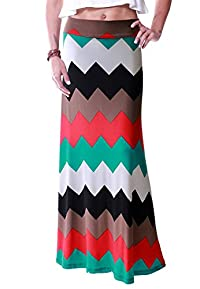 LeggingsQueen Women's High Waisted Poly Spandex Printed Maxi Skirt (V)