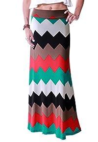 LeggingsQueen Women's High Waisted Poly Spandex Printed Maxi Skirt (V)