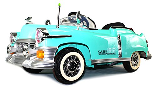 Classic 1912 Coupe Cruiser Children'S Kid'S Electric Powered Rechargeable Remote Control Ride On Car W/ Mp3 Player, Control By Steering Wheel Or By Remote Control (Green)