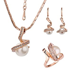 18k Rose Gold Plated Swarovski Elements Crystal CZ Rhinestone jewelry Sets White Pearls Necklace, Ring, Earrings