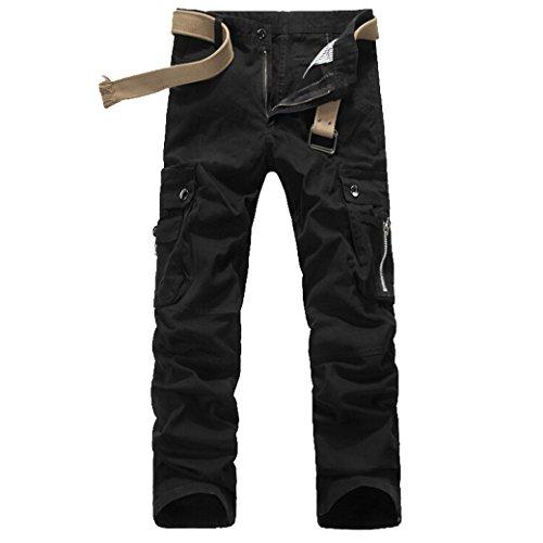 Tangda Herren Casual Hosen Gerade Cargo Hose Lange Cargohose Baumwolle Winter Arbeitshose mit Gürtel Größe XS - Schwarz