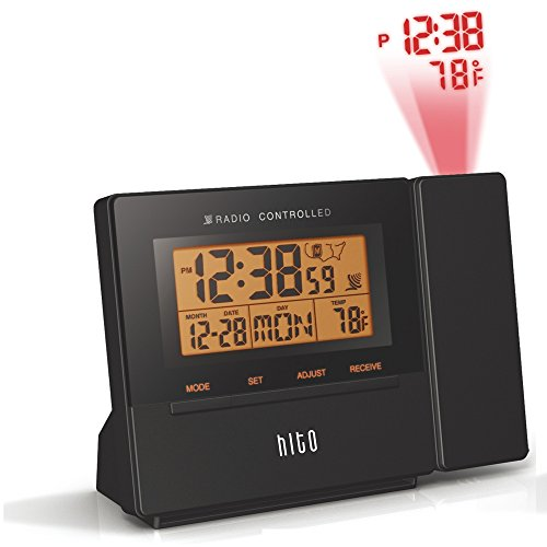 HITO Atomic Radio Controlled Projection Alarm Clock w/ Date, Temperature, Week, Alarm Status, Backlight & Adapter