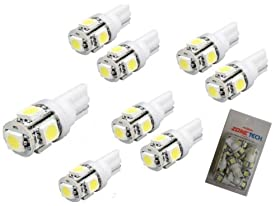 Zone Tech LED replacements for Malibu Landscape light 5 LED SMD SMT 194 T10 Wedge Base Warm White 12V DC/AC 1407WW (Pack of 8)