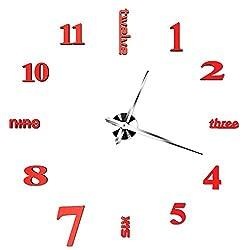 Aoklea Modern DIY Large Size Silent Wall Clock 3D Sticker Home Office Decor Creative Clock,Great Gift(Red)