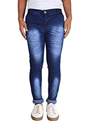 Bdow Men's denim slim fit silky jeans ( Blue ) (28, Blue)