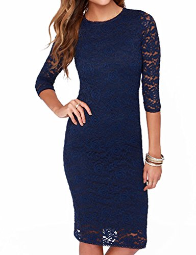 Mantos Eternity Women's Elegant Floral Lace 2/3 Sleeve Slim Evening Dress