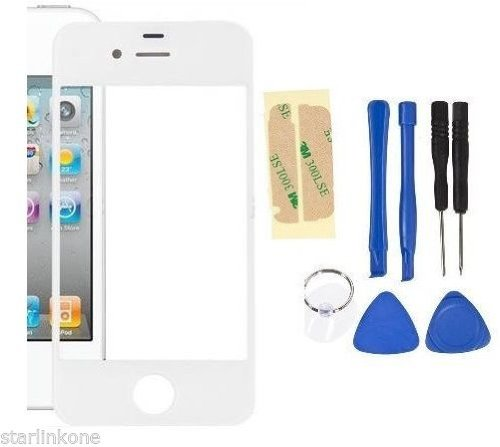 White Front Screen Glass Lens Repair Replacement For Apple Iphone 4S + 8 Tools