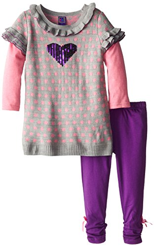 Ok Kids Little Girls' Sequin Heart Dot Print Set, Purple, 6
