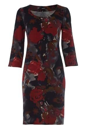 Roman Women's Floral Print Winter Shift Dress Red Size 20