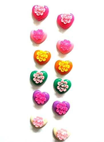 Twelve pairs of two tone flowers on hearts, Bubblegum pink, Baby Pink, Orange, Lime Green, Yellow, White, Purple, Leaf Green, Navy Blue, Sky Blue, Black and Red (multicolor)